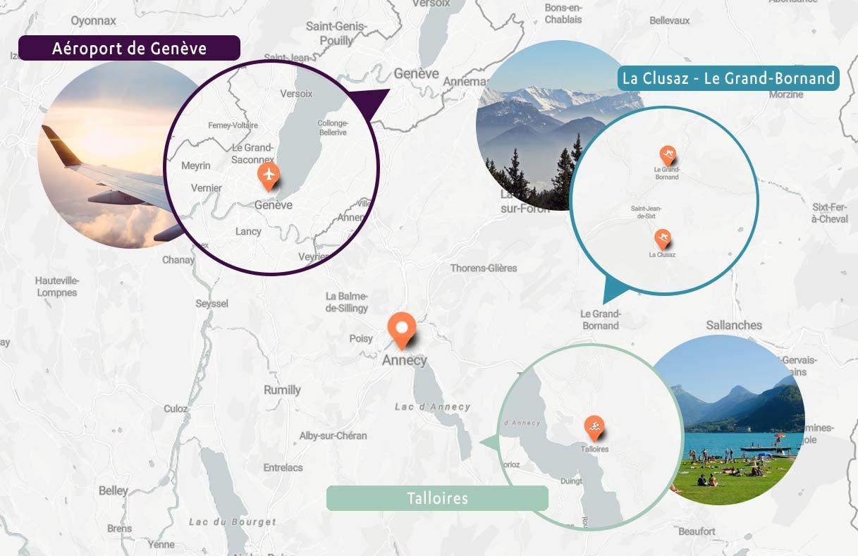 Carte des destinations en navettes au départ d'Annecy