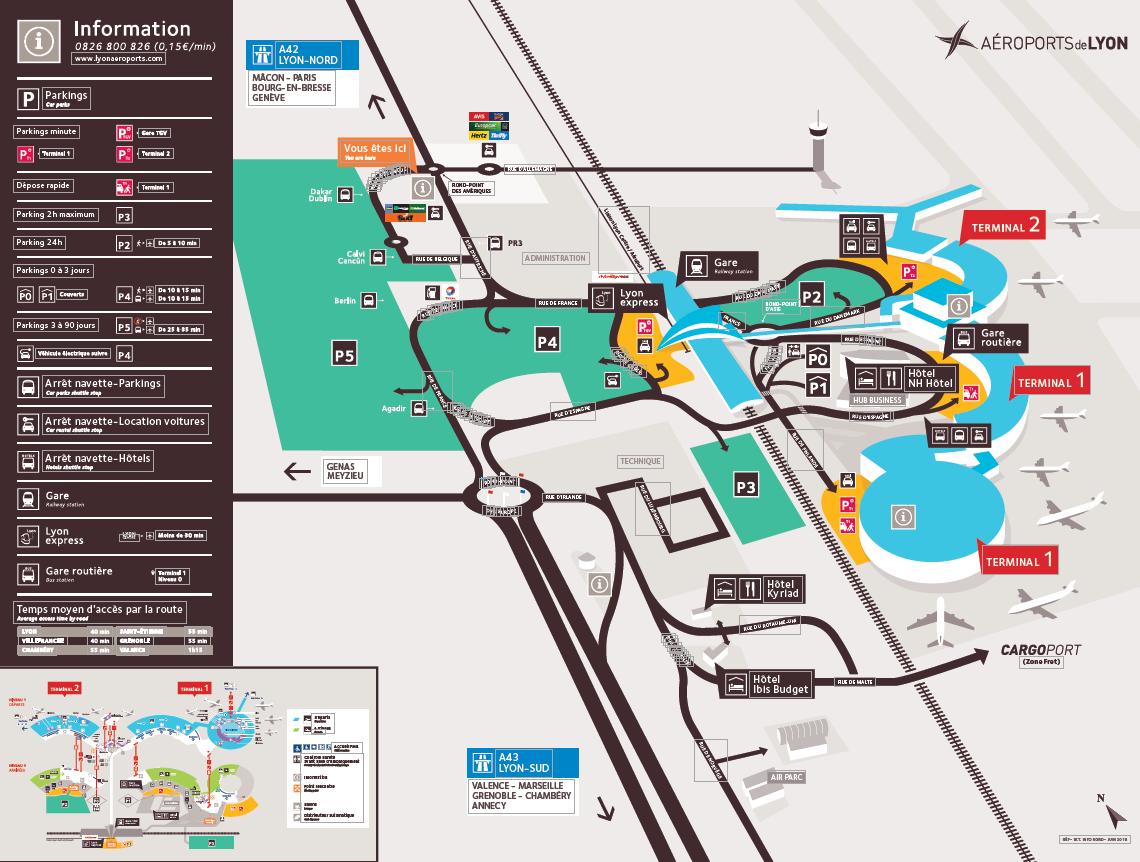 Plan aéroport Lyon Saint-Exupéry
